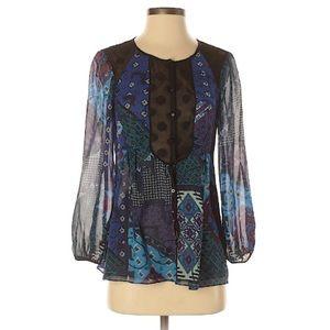 Nanette Lepore Paisely Patchwork Silk Blouse